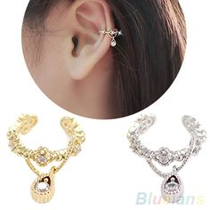 New Punk Fashion Ear Cuff Wrap Rhinestone Cartilage Clip On Earring Non Piercing  1L2Q-in Clip Earrings from Jewelry on Aliexpress.com | Alibaba Group