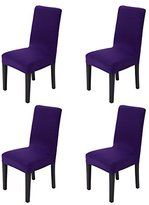 Hemons 4pcs Solid Color Stretchy Removable Washable Chair Covers Ceremony Hotel Dining Room Kitchen Bar Dining Seat Cover Restaurant Wedding Part Decor (Dark Purple)