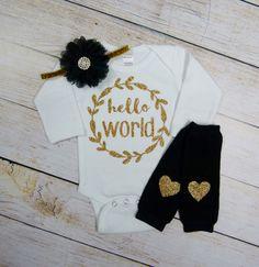 Newborn Girl Take Home Outfit Hello World Black Gold by mamabijou
