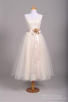 1950 Tea Length Lace Vintage Wedding Dress