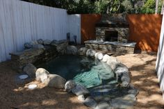 #natural #stone #jacuzzi #boulders #fireplace #rocks #water #spa