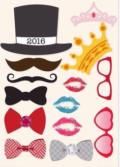 Para imprimir e se divertir durante o Ano Novo Anita, Photo Props, Emoji, Free Printables, Templates, Digital, Ideas, Display Case, Super Funny