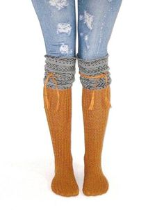 c78a327402f Tahoe Tassel Boho Boot Socks Gray   Whiskey Slouch Top Over The Knee Thick  Waffle Knit Camel Vegan Leather Tassles