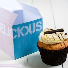 Colourful, printable cupcake box with cupcake holder.
