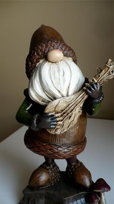 11 8 in Musical Garden Gnome Plays Ukelele Guitar Acorn Shape Statue Lawn | eBay