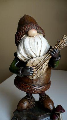 11 8 in Musical Garden Gnome Plays Ukelele Guitar Acorn Shape Statue Lawn | eBay