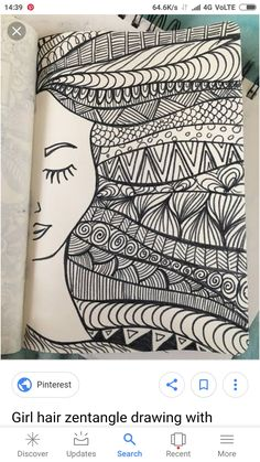 Doodle page!Doodle page!Girl hair zentangle drawing with marker - desenho drawing girl Hair marker Girl hair zentangle drawing with marker - desenho drawing girl Hair marker Doodle page! Doodle page! Girl hair zentangle drawing with Doodle Art Drawing, Zentangle Drawings, Mandala Drawing, Pencil Art Drawings, Art Drawings Sketches, Zentangle Patterns, Easy Drawings, Zentangle Art Ideas, Sharpie Drawings