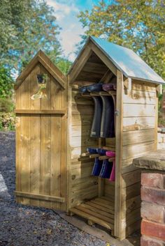 The Boot Store has an attractive boot cut-out and is neat and compact, perfect for putting next to entrance doors. It has ample capacity to store four pairs of adult welly boots with room to spare for other outdoor equipment such as umbrellas and dog leads. The timber used has been pressure treated, to protect it from rot and give it a guarantee for 15 years. Welly Boots, Boot Storage, Forest Garden, Entrance Doors, Pallet Projects, 15 Years, Farm Life, Umbrellas, Compact