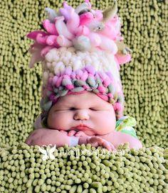 Knitting Pattern Newborn Giant Pom Baby Hat by HeartstringsbyDee