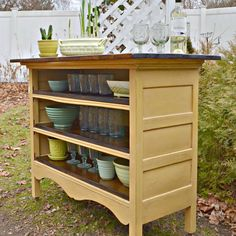 How fun is this antique dresser turned into a kitchen island from heir and space? I also love the idea of using it outside on a back patio for entertaining this summer!