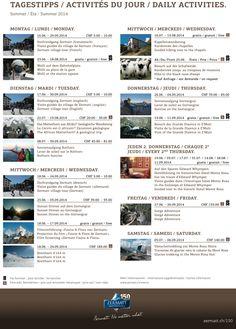 Daily activities summer 2014