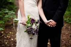 Delicate purple and green woodland inspired bouquet
