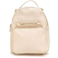 WHITE Cat's Meow Mini Faux Leather Backpack (470 ARS) ❤ liked on Polyvore featuring bags, backpacks, white, backpack bags, white backpack, cat bag, faux leather bag and faux-leather backpack