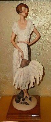 Giuseppe Armani Figurine Lady Fan LTD ED 70/500 Art Deco Capodimonte 1987
