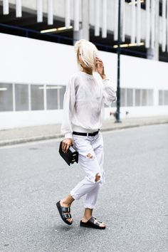 white on white with birks. very freakin cool yo. #VannessaHong in NYC. #TheHautePursuit