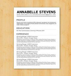 Resume Writing Service: Custom Resume Writing & Design - Minimalist, Modern Design - The Annabelle Stevens