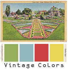 Vintage Color Palette - Gates Ajar - Providence RI - Ponyboy Press  hex#-95ae5a,90b9bb,cf4041,e9d654