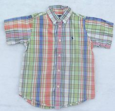 from $22.5 - #RalphLauren Polo Boys Madras Plaid S/s Button Down Shirt Top Easter Sz 6