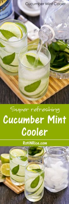 Cucumber Mint Cooler topped with your choice of club soda, seltzer, or water, and a squeeze of lime juice. It's cool, fizzy, and super refreshing.| Food to gladden the heart at RotiNRice.com