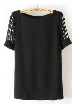 a9bac81d66757 SHEIN offers Black Hollow Short Sleeve Chiffon Blouse   more to fit your  fashionable needs.