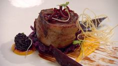 Bacon wrapped loin of venison with red cabbage, butternut squash puree and beetroot - RTE Food Squash Puree, Red Cabbage, Meat Lovers, Venison, Bacon Wrapped, Beetroot, Butternut Squash, Ireland, Pork