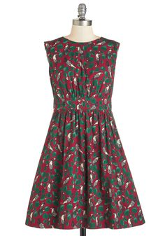 Too Much Fun Dress in Scarlet Birds. Theres no such thing as overloading on fun, so why not go all out in this adorable dress from Emily and Fin? #red #modcloth
