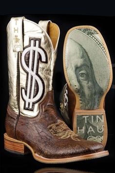 Tin Haul Boots Women's Dollar Sign Gold Digger Cowgirl Boots