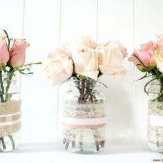 Turn your old mason jars into shabby chic vases. Perfect for a centerpiece, mantle or just because.