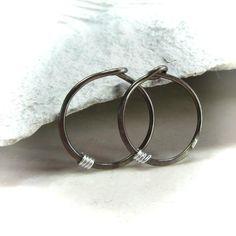 Mini Hoop Earrings Bronze Niobium with Silver Little Hoop Earrings, Cuff Bracelets, Bronze, Sterling Silver, Jewelry, Jewlery, Jewerly, Schmuck, Jewels