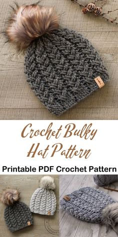 bulky hat cable crochet patterns- winter hat crochet pattern- amorecraftylife.com #crochet #crochetpattern #diy