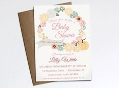Autumn Baby Shower Invitation - A little pumpkin is on her way! Printable invitation by ChelsiLeeDesigns on Etsy https://www.etsy.com/listing/203142065/autumn-baby-shower-invitation-a-little