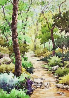 Watercolor Pictures, Watercolor Landscape Paintings, Watercolor Trees, Watercolor Drawing, Landscape Art, Watercolor Artists, Watercolor Portraits, Abstract Paintings, Abstract Oil