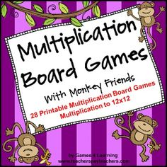 Multiplication Board Games by Games 4 Learning - 28 Printable Games $