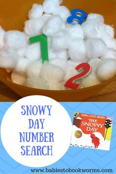 "Sensory fun and number recognition practice in one fun snowy game. Pair it with the Ezra Jack Keats' classic ""The Snowy Day""! Snow Activities, Library Activities, Toddler Activities, Winter Fun, Winter Theme, Winter Ideas, The Snowy Day Book, Preschool Activities, Preschool Plans"