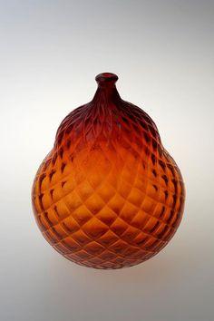 Miluse Roubickova, blown glass vase - object, H: cm, glassworks Novy Bor (Haida), Czechoslovakia Ludwig, Glass Marbles, Glass Chandelier, Glass Paperweights, Glass House, Glass Design, Blown Glass, Czech Glass, Bowls