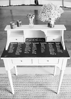 Chalk board paint on the top of a desk-made for those who think of something but don't have any paper