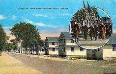 Camp Funston Kansas KS 1940s Barracks Fort Riley Antique Vintage Postcard Camp…