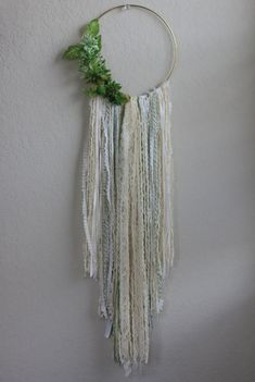 """Large Bohemian Wall Hanging in Cream with Greenery and Succulents // Inspired by the 2017 color """"Greenery""""! BarnyardPeacock yarn wall hangings are the perfect addition of soft color and texture for your modern bohemian home or Country Cottage. Beautiful as a stand alone piece and also excellent at breaking up the straight lines of gallery walls, Large Bohemian Wall Hanging in Cream with Greenery and Succulents will add vibrancy and depth to your home. Pe..."""