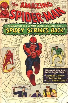 The Amazing Spider-Man (Marvel, The Sandman and the Enforcers appearances. First appearance of Mac Gargan. Cover and art by Steve Ditko Silver Age Comics, Univers Marvel, Amazing Spiderman, Spiderman Classic, Vintage Comic Books, Vintage Comics, Marvel Comic Books, Comic Books Art, Comics Spiderman