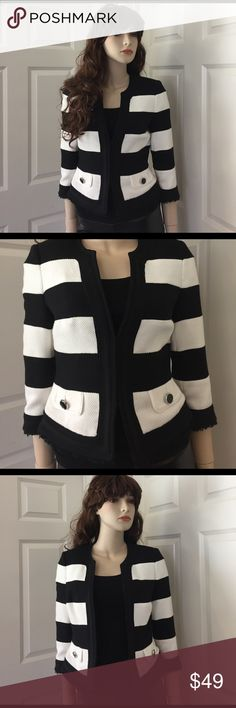 Like New White House Black Market Jacket Only worn twice. This adds style to your work wardrobe or polish to a more casual look. The black and white stripes make it eye catching and versatile. White House Black Market Jackets & Coats Blazers