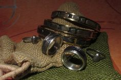 rings and bracelets on the new jute bags. Jute Bags, Binoculars, Bracelets, Rings, Style, Swag, Ring, Jewelry Rings, Bracelet