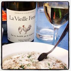 """La Vieille Ferme White seen in its own place, the Luberon, with some fresh cheese, herbs and sardines """"rillettes""""...Great time!!"""
