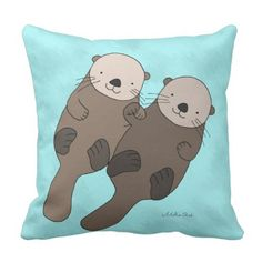 Otter Holding Palms Pillow Cute Otter Throw Pillow. >> See even more by checking out the image