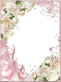 White Roses Pink PNG Photo Frame - suitable for wedding card topper Rose Frame, Flower Frame, Boarders And Frames, Printable Frames, Frame Background, Party Decoration, Decoupage Vintage, Png Photo, Borders For Paper