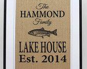 Personalized Burlap Lake House Decor - Custom Lake House Sign