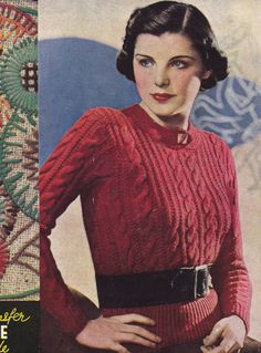1937 Cable Jumper | Free Knitting Pattern from ZilRedLoh