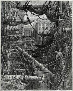 London: A Pilgrimage: Inside the Docks - Gustave Doré, Wood engraving. Gustave Dore, Paris, Victorian London, Vintage London, Most Famous Artists, London History, Old London, Wood Engraving, Horror