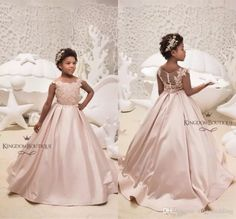 aa208716db 2019 Pink Satin Flower Girl Dresses For Western Weddings A Line Sheer Neck  Cap Sleeves Appliques Long Kids Birthday Prom Formal Party Gowns