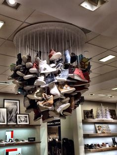 """The Shoe Chandelier!"",every home should have one, pinned by Ton van der Veer"