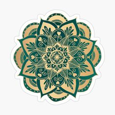 Teal Green, Green And Gold, Cute Laptop Stickers, Flower Mandala, Gold Flowers, My Arts, Art Prints, Printed, Awesome